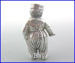 Super Novelty Solid Sterling Silver Pepper Pot Dutch Boy Import Marks 1910