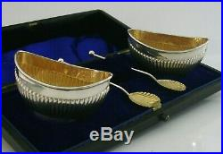 Superb Cased Victorian Sterling Silver Salts Cellars And Spoons 1896 Antique