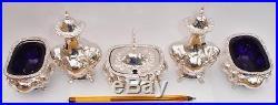 Superb Edwardian Sterling Silver 5 Piece Cruet Set 1902