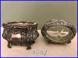 Superb Pair of 19thC French Solid Silver Salt Cellars w. Original Crystal Liners
