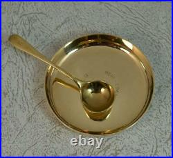 Superb Solid 9 Carat Gold Salt Cellar Dish and Spoon