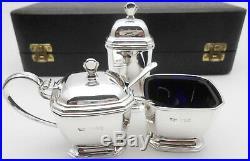Superb Sterling Silver Cruet Set Cased Vintage Birmingham