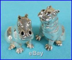 Superb Sterling Silver Novelty Salt & Pepper Shakers Hippopotamus Patrick Mavros
