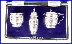 Superb Vintage Solid Silver Cruet Set Mustard Pot & Salt / Pepper Shakers Box