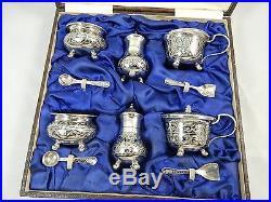 THAILAND, BOXED set x 6 sterling silver CONDIMENT SET, c1950
