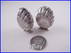 Tiffany Sterling Silver Pair Figural Shell Footed Salt & Pepper Shakers
