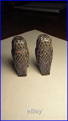 Tiffany & Co # 5 & 13 Sterling Silver OWL Salt & Pepper Shakers England Vintage