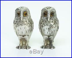 Tiffany & Co. England Vintage Silver Owl Salt & Pepper Shakers