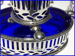 Tiffany & Co. Makers Sterling Silver Salt Cellar & Pepper Shaker with Cobalt Glass