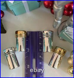 Tiffany&Co Salt Pepper Shakers Sterling Silver Vermeil Salt Tops 2 Pairs W Box