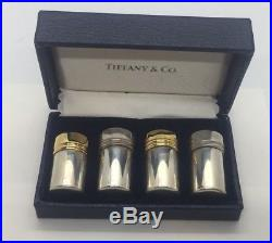 Tiffany & Co. Sterling Silver 2 Pairs Mini Salt & Pepper Shakers with Box