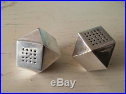 Tiffany Salt & Pepper Shaker Pair Sterling Silver Modernist