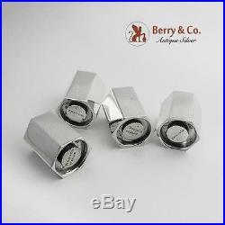 Tiffany Salt Pepper Shakers 2 Pair Italian Sterling Silver Modernist 1970