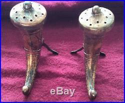 Two Sterling Silver Pepper Shakers Norway Viking Horn Theodor Olsens