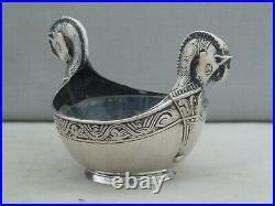 Unusual Antique David-andersen Norway Sterling Silver Horse Headed Salt Pot