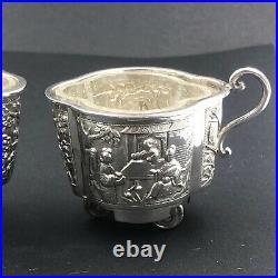 Unusual pair of Chinese export silver salts on wheels Lee Ching