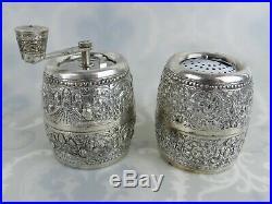 VTG Sterling Silver Repousse Pattern France Barrel Salt Pepper Grinder Marlux