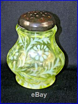 Vaseline Opalescent Glass Sugar Shaker Paneled Daisy & Fern
