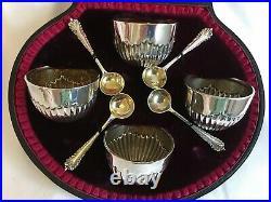 Victorian Cased Set 4 Solid Silver Salts & Spoons Josiah Williams London 1896