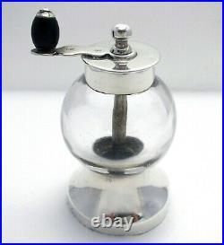 Victorian Hukin Heath/Christopher Dresser Sterling Silver Glass Pepper Grinder