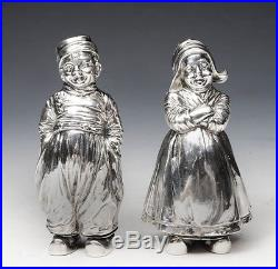 Victorian Solid Silver Novelty Salt & Pepper Shakers c. 1913 (R1630)