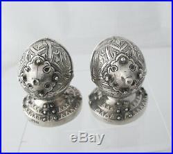 Victorian silver novelty knight salt & pepper Henry Matthews Birmingham 1899