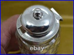 Victorian sterling silver cruet bottle set cut glass J W & EH Sheffield 1845