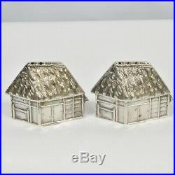 Vintage 1930's 950 Silver Japanese Figural House Home Hut Salt Pepper Shaker Set