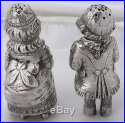 Vintage 800 Silver German Figural Salt & Pepper Shakers Cute Boy & Girl