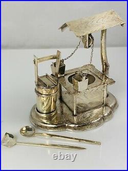 Vintage 950 Sterling Silver Japanese Well & Bucket Salt and Pepper Shaker Cellar