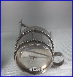 Vintage 950 Sterling Silver Wishing Well Salt & Pepper Shaker With Spoon Set Sz 3