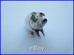 Vintage Aide & Lovekin Ltd hallmarked silver novelty pig salt pepper shaker 1907