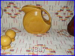 Vintage Antique Gold Ironstone Fiesta Disc Water Jug& S&p Shakers-fiestaware
