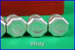 Vintage Cartier Sterling Silver Mini Salt & Pepper Shaker 8pc Set in Red Case
