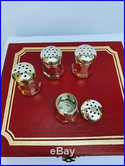 Vintage Cartier Sterling Silver Salt And Pepper Shakers Set Of 4 Original Box
