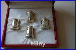 Vintage Cartier Sterling Silver Salt & Pepper Shakers Set Of 4 In Original Box