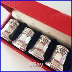 Vintage Cartier Sterling Silver Salt / Pepper Shakers Set Of 8 4 Pair Orig Box