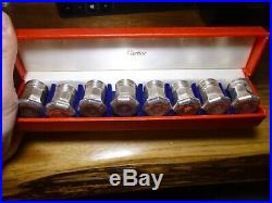 Vintage Cartier Sterling Silver Salt and Peppers Shakers Set of 8 With Box