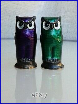 Vintage DAVID ANDERSEN NORWAY Sterling silver enamel OWL SALT AND PEPPER SHAKERS