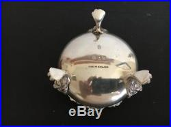 Vintage English Sterling Silver Salt Cellar with Spoon and Pepper Shaker