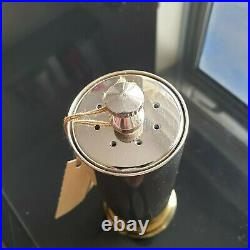 Vintage GUCCI Salt Pepper Mill Shaker Hunting Shell Brass Gold Silver with Label