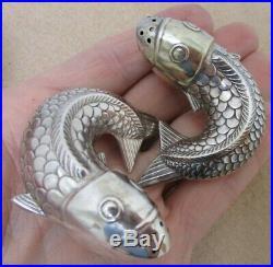 Vintage J. Tostrup Oslo Norway Sterling Silver Cod Fish Salt & Pepper Shakers