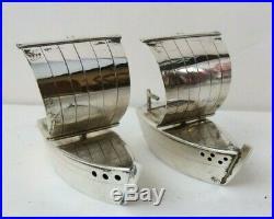Vintage Japanese 950 Sterling Silver Detailed Sail Boat Salt & Pepper Shakers