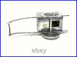 Vintage Japanese 950 Sterling Silver Rickshaw Cart Wagon Salt & Pepper Shakers