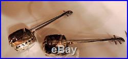 Vintage Japanese Sterling Silver Guitar Banjo Salt & Pepper Shakers
