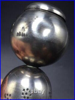 Vintage Japanese Sterling Silver Wobble Head Kokeshi Doll Salt & Pepper Shakers