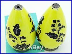 Vintage Marked 925 Sterling Silver Yellow & Black Enamel Salt & Pepper Shakers