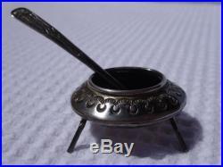 Vintage Navajo Silver Teepee Pepper Shaker & Salt Cellar with Spoon Ladle Peyote