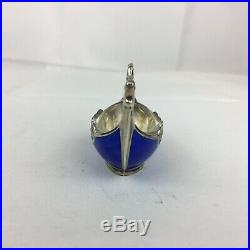 Vintage Norway Sterling Silver Blue Enamel Viking Boat Novelty Salt & Spoon