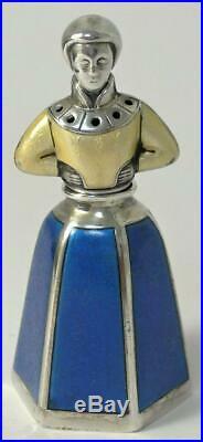 Vintage Norwegian Sterling Silver & Enamel Novelty Pepper/Salt Pot by J. Tostrup